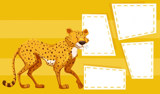 A cheetah on yellow template