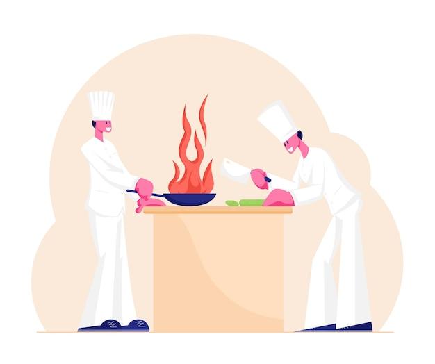 흰색 유니폼의 요리사와 수 셰프 캐릭터와 레스토랑에서 요리하는 토크. 만화 평면 그림