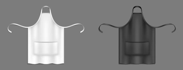요리사 앞치마, 흑백 요리사 유니폼 3d 모형.