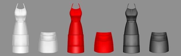 요리사 앞치마, 검정, 빨강 및 흰색 요리사 유니폼 3d 벡터 모형.