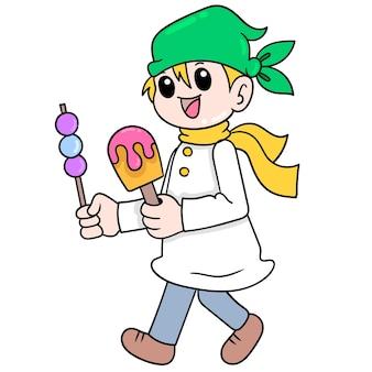 셰프 조수가 사테와 아이스크림 음식을 즐길 준비가 된 벡터 일러스트레이션 아트를 가져오고 있습니다. 낙서 아이콘 이미지 귀엽다.