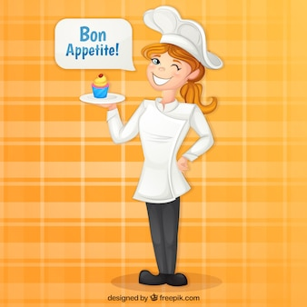 Chef background with delicious cupcake