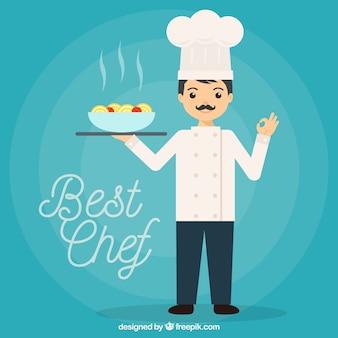 Sfondo dello chef con delizioso piatto di pasta