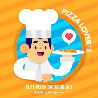 평면 디자인에 피자 요리사 배경