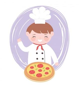 구운 피자 만화 캐릭터와 요리사 소년