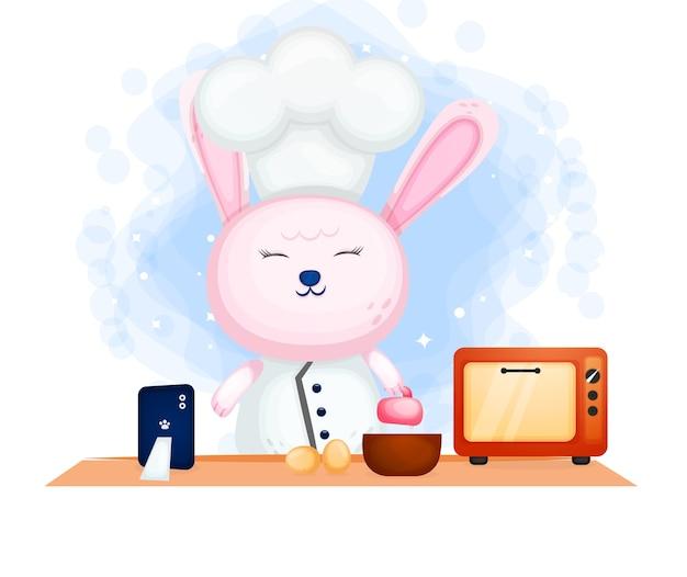 Повар зайка готовит со счастливой любовью на своей кухне