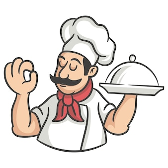 실버 플래터를 들고 요리사 만화 캐릭터