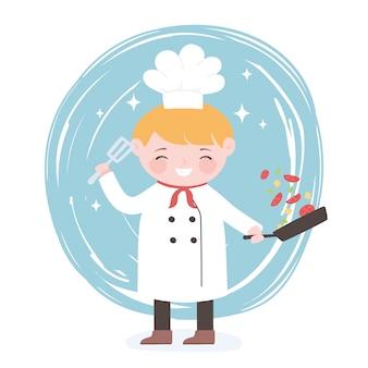 Повар мультипликационный персонаж со сковородой и лопаткой в руках