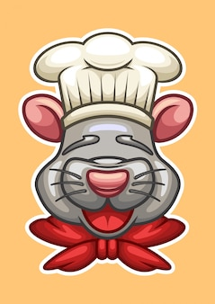 Chef cartoon mouse head vector illustration