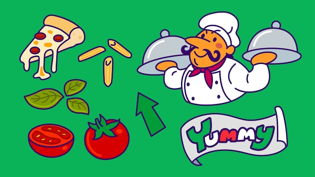 Chef cartoon with pizza and food icon set