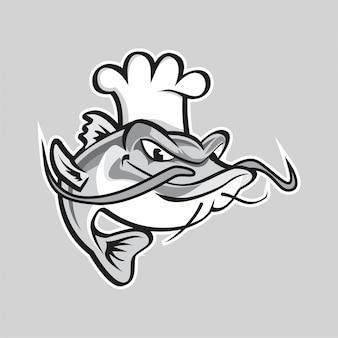 Chef catfish vector illustration