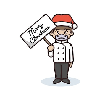 Chef celebrating christmas in pandemic