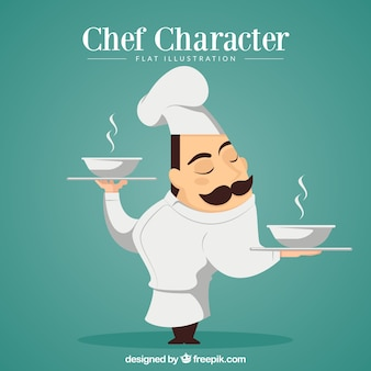 Chef character carrying soup