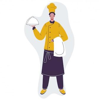 요리사 캐릭터 cloche와 수건을 들고입니다.