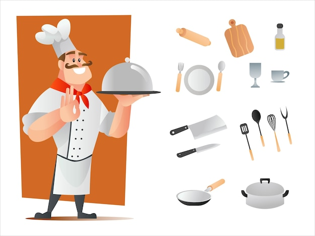 Chef character and kitchenware utensils cartoon