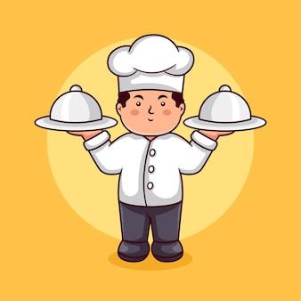 Шаблон дизайна логотипа персонажа шеф-повара