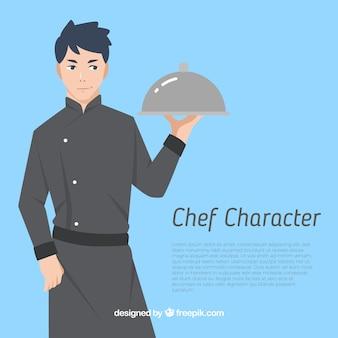 파란색 배경에 요리사 캐릭터