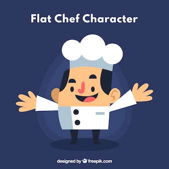Chef character with open arms