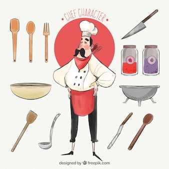 다른 손으로 그린 요소와 요리사 캐릭터