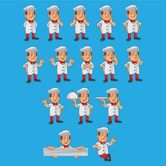 Chef characters in different poses