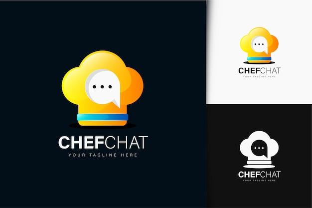그라데이션이 있는 요리사 채팅 로고 디자인
