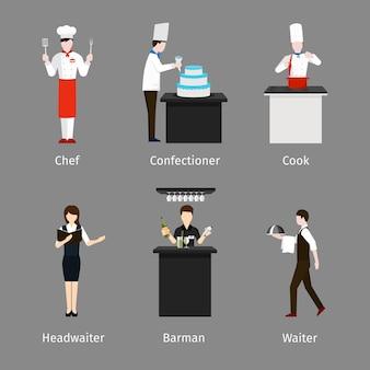 Chef e pasticcere, cameriere e cuoco. personale addetto alla ristorazione. lavoro e lavoro, persona barman, capocameriere