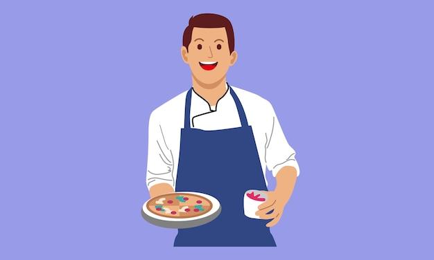 シェフが調理し、ピザのトレイを持っています