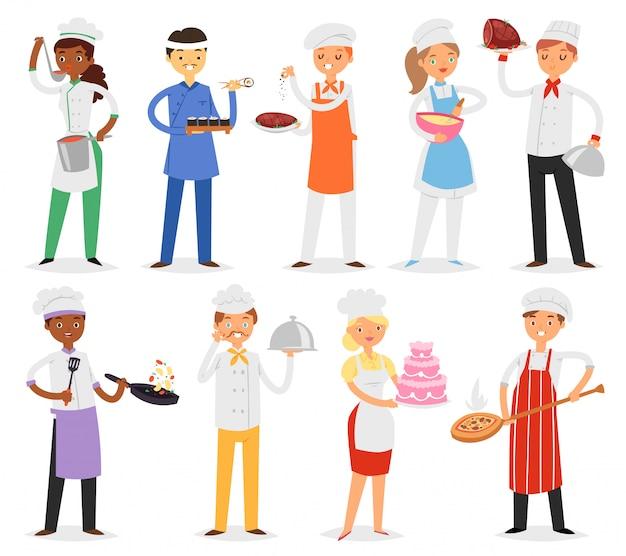 シェフがキャラクターの女や男のレストランイラストのキッチンで料理を調理