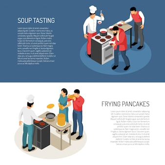 Chef cook food preparation duties, isometric horizontal banners with frying pancakes soup taste checking vector illustration