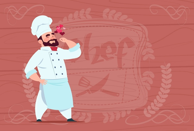 Chef cook happy smiling cartoon restaurant chief in white uniform over wooden textured background