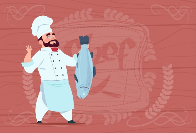 Chef cook hold fish smiling cartoon restaurant chief in white uniform over wooden textured background