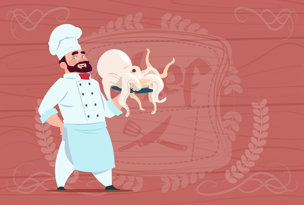 Chef cook hold octopus smiling cartoon restaurant chief in white uniform over wooden textured background