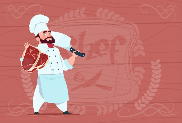 Chef cook holding cleaver knife and meat smiling cartoon chief in white restaurant uniform over wooden textured background