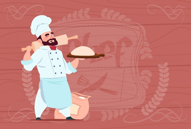 Chef cook holding flour and dough smiling cartoon chief in white restaurant uniform over wooden textured background