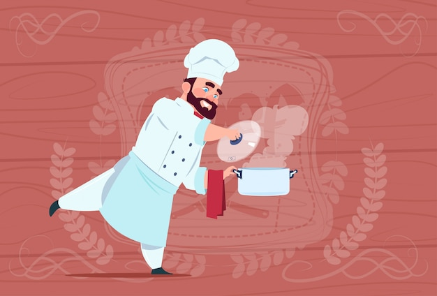 Chef cook holding saucepan with hot soup smiling cartoon chief in white restaurant uniform over wooden textured background