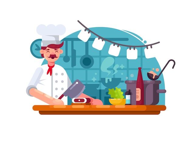 シェフがキッチンで調理し、肉切り包丁を用意します。ベクトルイラスト
