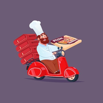 Chef cook riding red motor bike fast pizza delivery concept