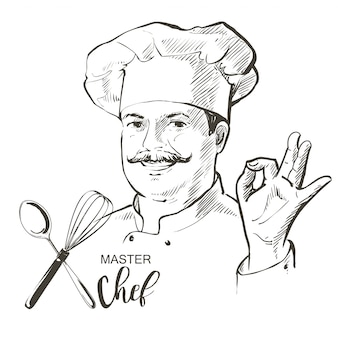 Chef cook vector line sketch hand-drawn illustration
