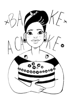 Chef cook young woman character. hand drawn ink vector portrait of a baker with cake.