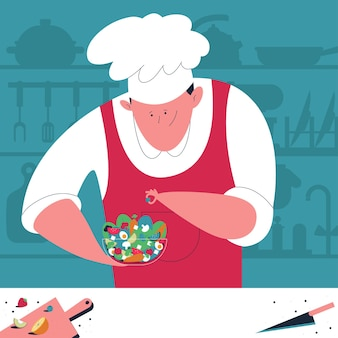 Chef cooking cartoon concept illustration with man in uniform and salad.