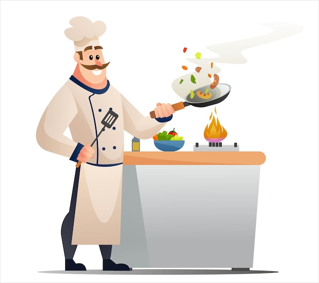 요리사 요리 개념 그림