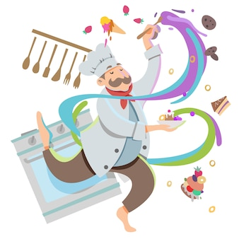 Chef cooking concept