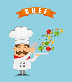 Chef cooking illustration