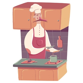 Chef cooking on kitchen  cartoon concept illustration isolated on a white background.