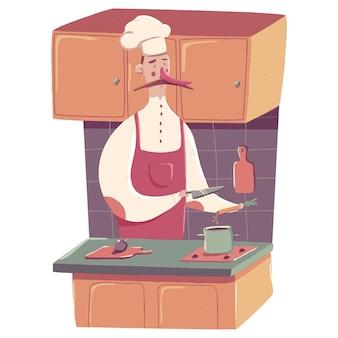 흰색 배경에 고립 된 부엌 만화 개념 그림에 요리하는 요리사.