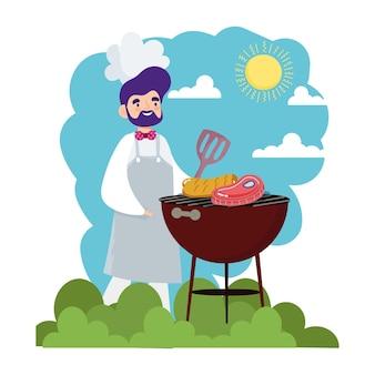Шеф-повар готовит на открытом воздухе в барбекю