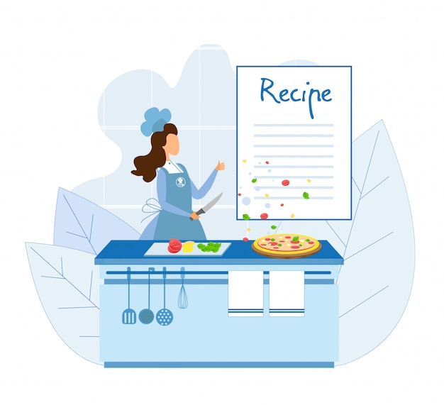 Chef cooking pizza according to classic recipe