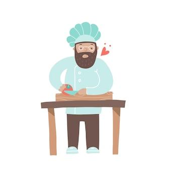 부엌에서 요리하는 모자에 있는 나무 판자 요리사 캐릭터에 토마토를 자르는 요리사