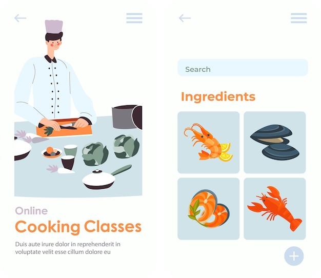 학생들을 위해 요리를 만드는 방법을 시연하는 셰프. 요리 수업 및 수업 준비. 학습자를 위한 정보가 포함된 재료. 웹사이트 또는 웹 페이지 템플릿, 방문 페이지 평면 스타일 벡터
