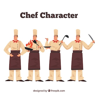 Chef in different postures